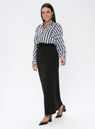 Black - Unlined - Plus Size Skirt