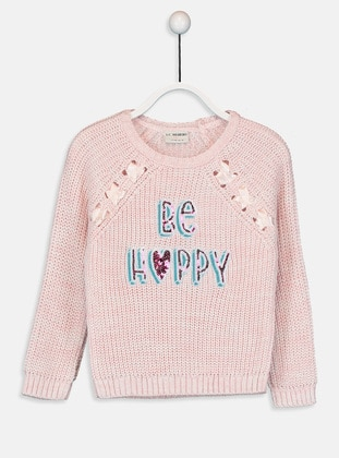 Printed - Crew neck - Pink - Girls` Pullovers - LC WAIKIKI