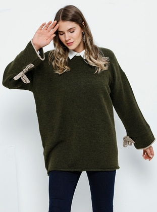 Khaki - Crew neck - Acrylic -  - Plus Size Jumper