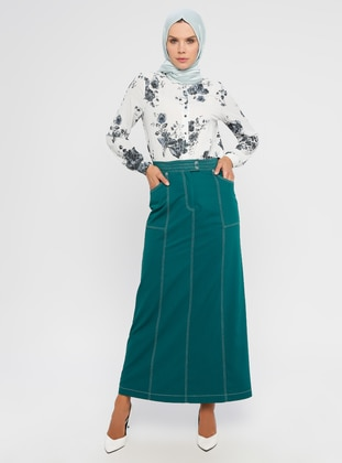 Petrol - Fully Lined - Viscose - Skirt