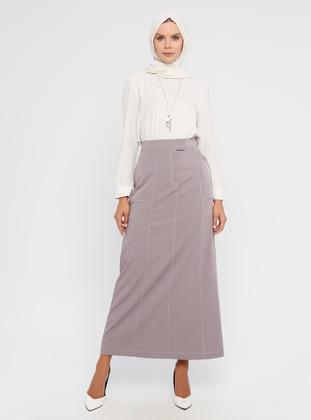 Stone - Fully Lined - Viscose - Skirt