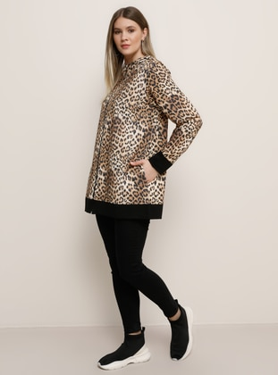 Brown - Leopard - Unlined - Polo neck - Plus Size Coat