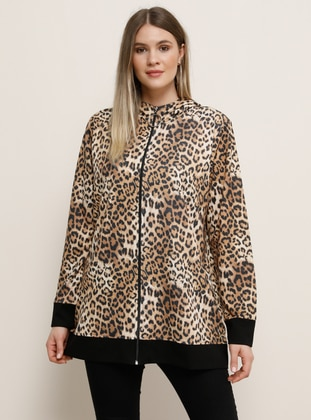 Brown - Leopard - Unlined - Polo neck - Plus Size Coat - Alia