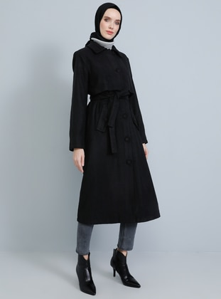 Black - Fully Lined - Shawl Collar -  - Coat