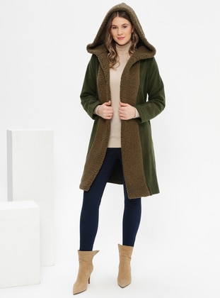 Khaki - Unlined - Acrylic - Plus Size Coat - Alia