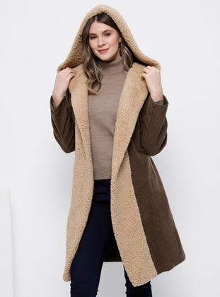 Brown - Unlined - Acrylic - Plus Size Coat - Alia