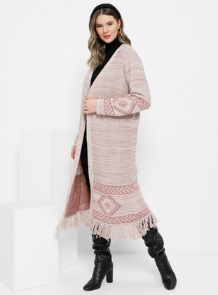 Beige - Dusty Rose - Shawl Collar - Acrylic -  - Plus Size Cardigan - Alia