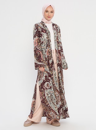 Purple - Floral - Unlined - Shawl Collar - Viscose - Topcoat