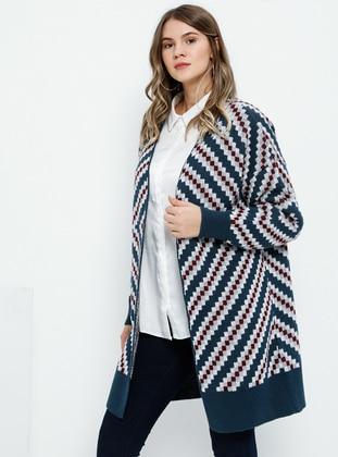 Petrol - Multi - Acrylic -  - Plus Size Cardigan