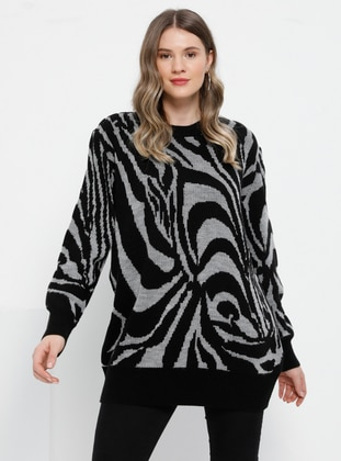 Gray - Black - Multi - Crew neck - Acrylic -  - Plus Size Jumper - Alia