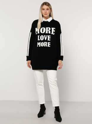 White - Ecru - Black - Crew neck - Acrylic - - Plus Size Jumper