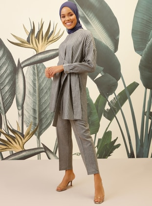 Anthracite - Stripe - Unlined - Viscose - Suit - Mnatural
