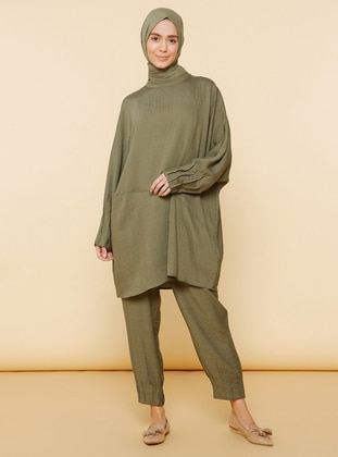 Khaki - Unlined - Nylon - Viscose - Suit