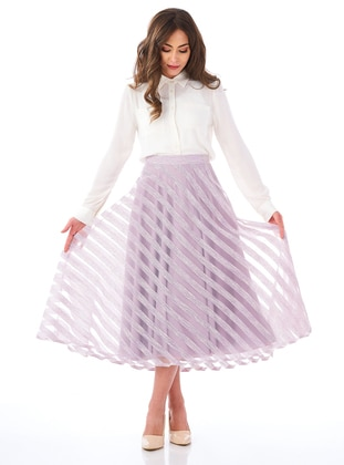 Lilac - Stripe - Fully Lined - Skirt