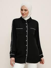 Black - Point Collar - Plus Size Blouse