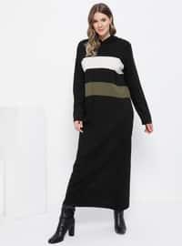 Khaki - Black - Unlined - Acrylic -  - Plus Size Dress