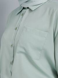 Green - Point Collar - Viscose - Tunic