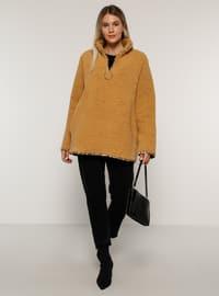 Camel - Unlined - Polo neck - Plus Size Coat