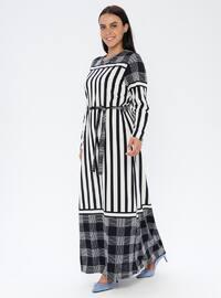 Navy Blue - Stripe - Unlined - Crew neck - Plus Size Dress
