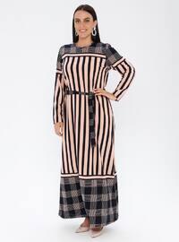Powder - Stripe - Unlined - Crew neck - Plus Size Dress