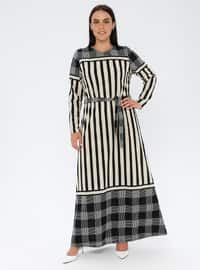Black - Stripe - Unlined - Crew neck - Plus Size Dress