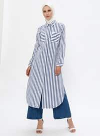 Ecru - Blue - Stripe - Point Collar -  - Tunic