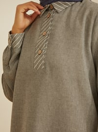 Anthracite - Stripe - Point Collar -  - Viscose - Tunic