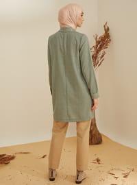 Khaki - Stripe - Point Collar -  - Viscose - Tunic