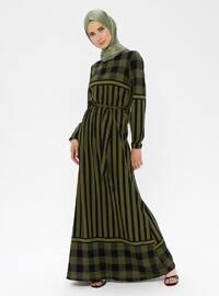 Khaki - Multi - Crew neck - Unlined - Viscose - Dress