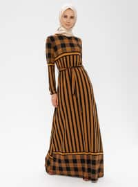 Mustard - Multi - Crew neck - Unlined - Viscose - Dress