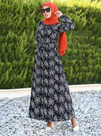 Ekru - Siyah - Puantiyeli - Fransız yakası - Astarsız kumaş - Elbise