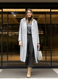 Gray - Unlined - Rayon - Plus Size Overcoat