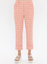 Orange - Plaid - Viscose - Pants