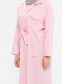 Pink - Plaid - Point Collar - Tunic