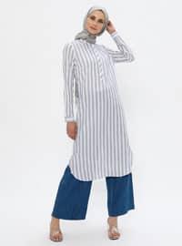 Ecru - Stripe - Crew neck -  - Tunic