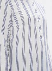Ecru - Blue - Stripe - Crew neck -  - Tunic