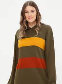 Kaki - Canelle - Tissu non doublé - Acrylique - Maille - Robe grande taille
