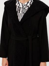 Black - Unlined - Acrylic - Plus Size Coat