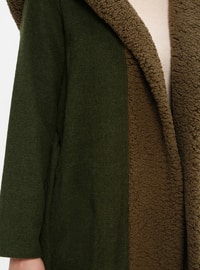 Khaki - Unlined - Acrylic - Plus Size Coat