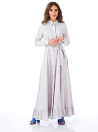 Gray - Point Collar - Unlined -  - Dress