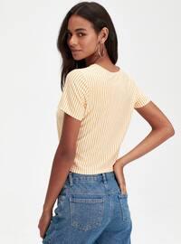 Stripe - Crew neck - Yellow - T-Shirt