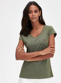 V neck Collar - Green - T-Shirt