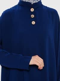 Navy Blue - Button Collar - Tunic