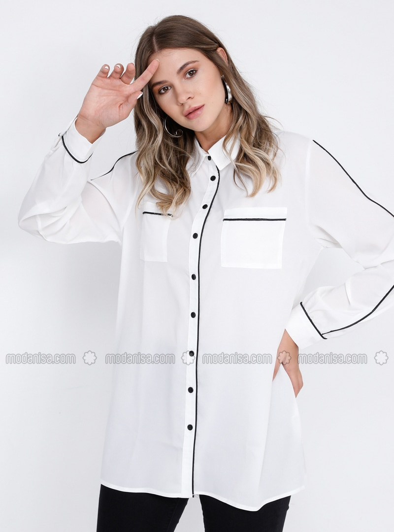 White - Ecru - Point Collar - Plus Size Blouse