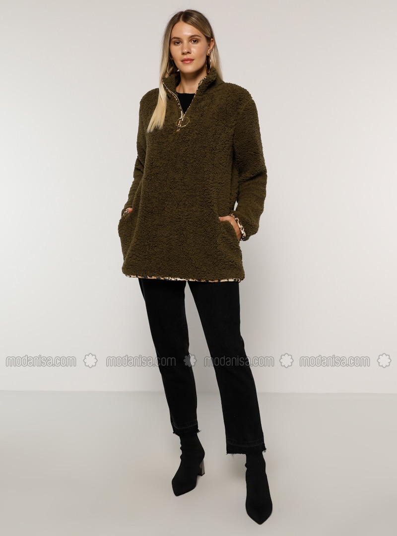 Khaki - Unlined - Polo neck - Plus Size Coat
