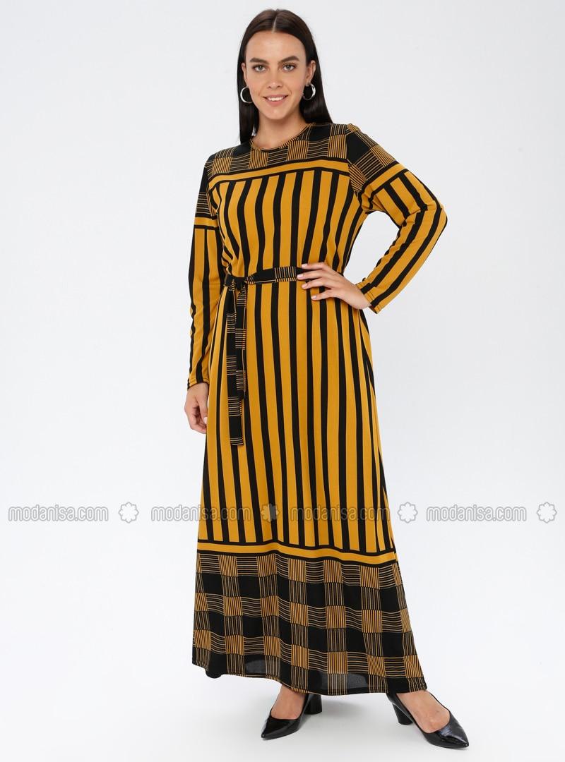 Mustard - Stripe - Unlined - Crew neck - Plus Size Dress