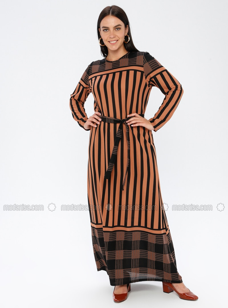 Tan - Stripe - Unlined - Crew neck - Plus Size Dress