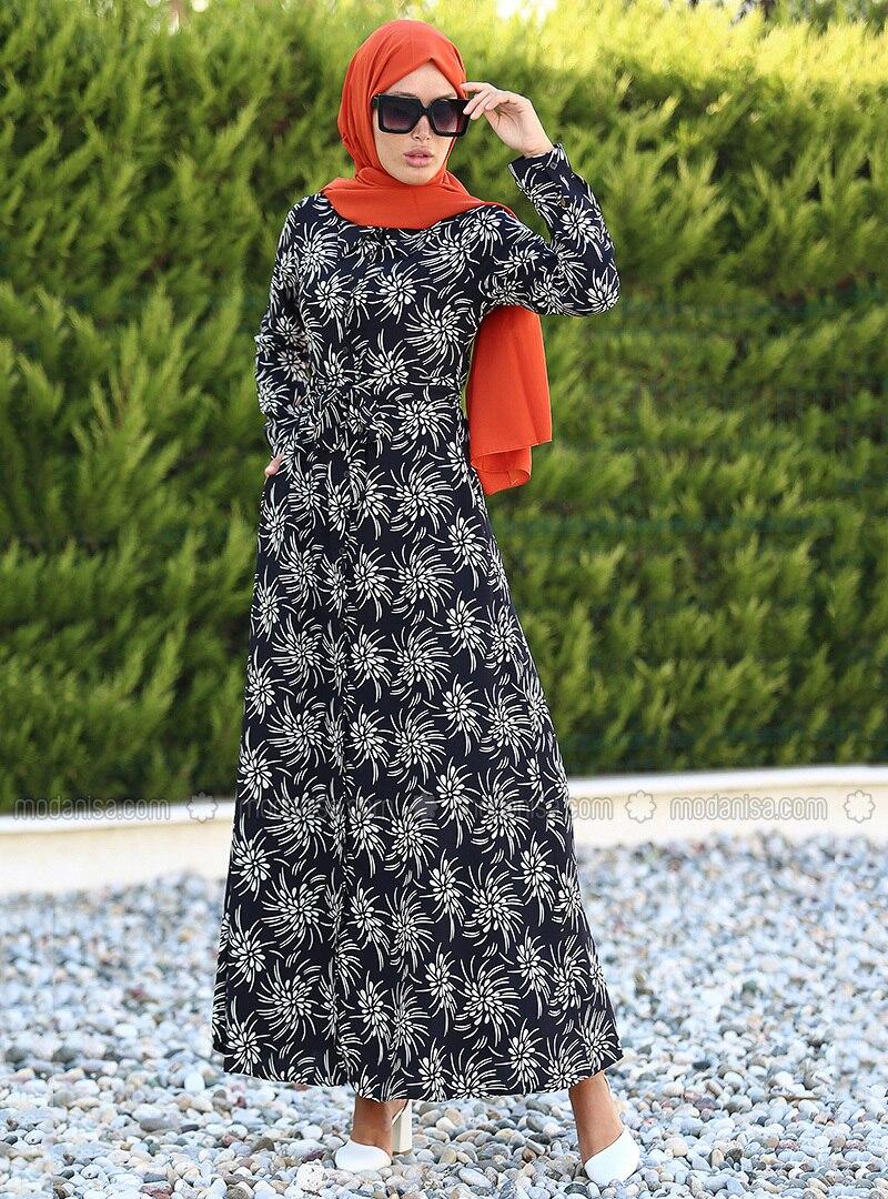 Ecru - Black - Polka Dot - Point Collar - Unlined - Dress