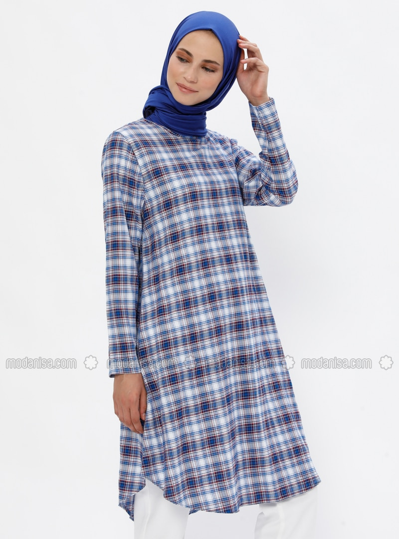 Red - Navy Blue - Plaid - Crew neck -  - Tunic