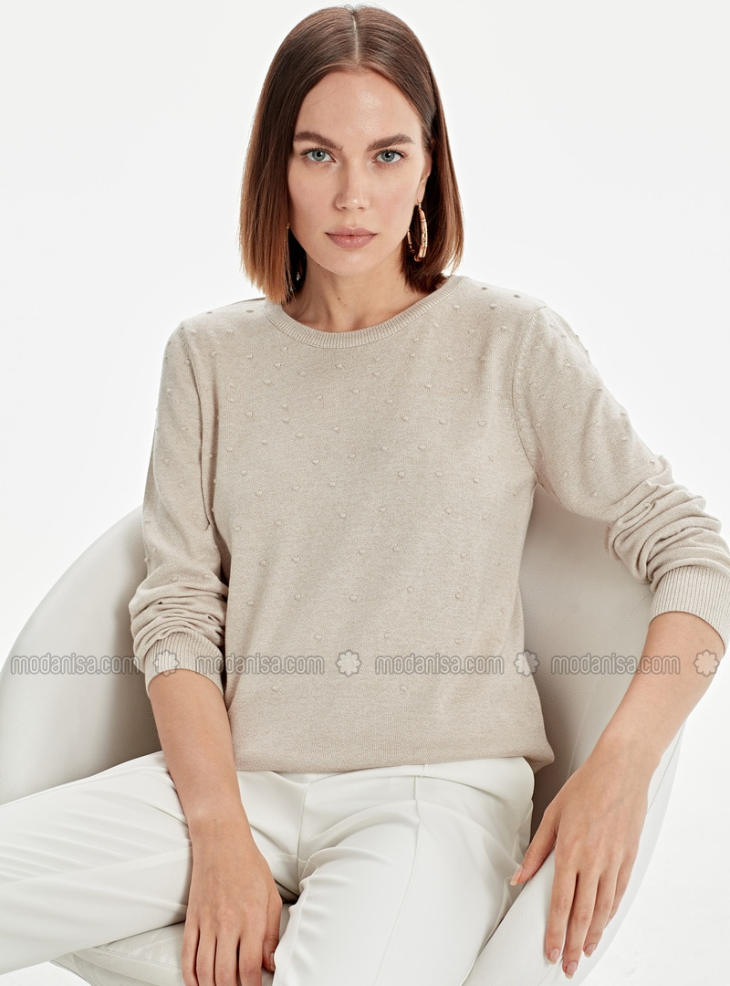 Printed - Crew neck - Beige - Jumper